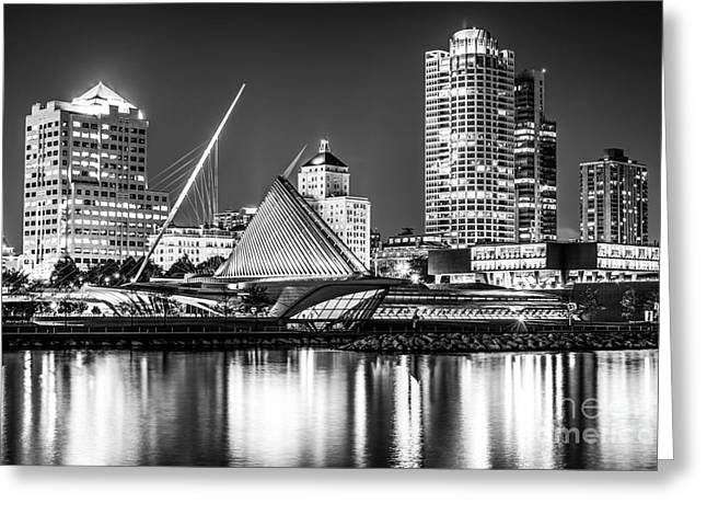 Picture Of Milwaukee Skyline At Night In Black And White Greeting Card