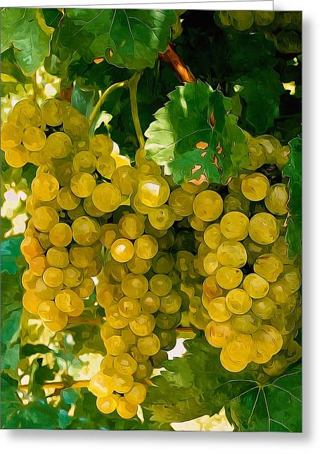 Winemaking Paintings Greeting Cards - Picture of ripe white grape branch Greeting Card by Lanjee Chee