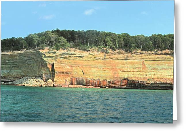 Pictured Rocks Sunlight And Shadows Panorama Greeting Card by Bill Woodstock