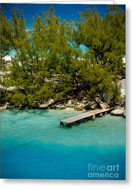 Picturesque Dock Nassau Bahamas Greeting Card by Amy Cicconi