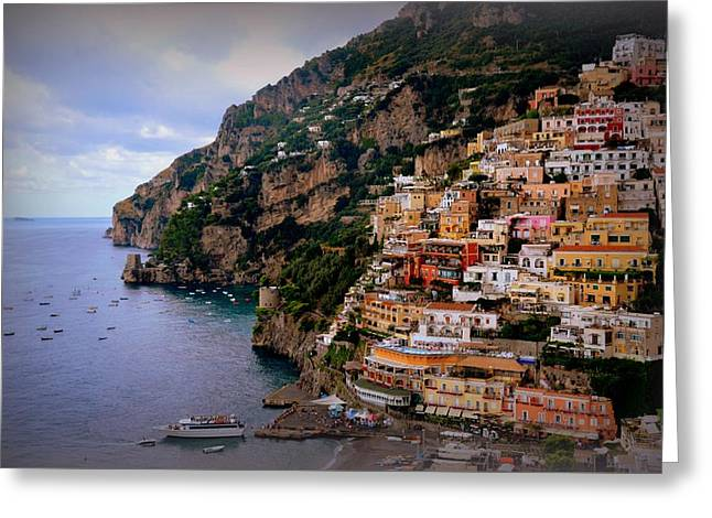 Picturesque Positano Greeting Card by Toni Abdnour