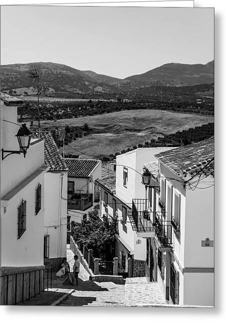 Picturesque Streets Of Ronda. Spain. Black And White Greeting Card