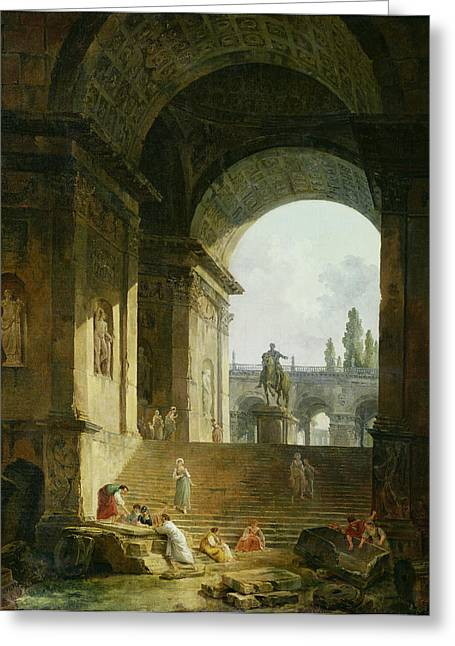 Picturesque View Of The Capitol Oil On Canvas Greeting Card by Hubert Robert