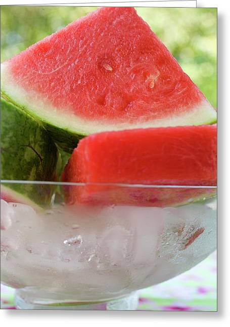 Pieces Of Watermelon In A Bowl Of Ice Cubes Greeting Card