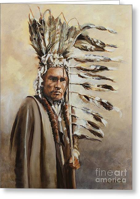 Piegan Warrior With Coup Stick Greeting Card