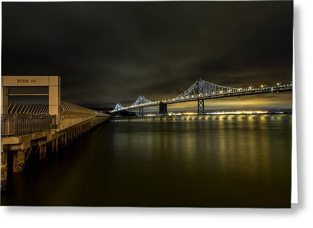 Pier 14 And Bay Bridge At Night Greeting Card