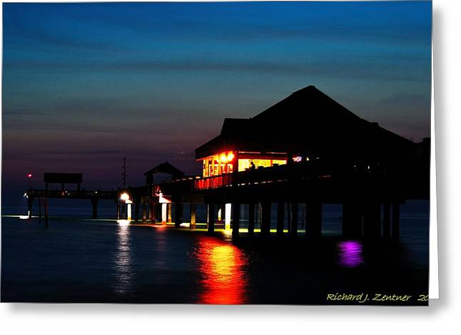 Greeting Card featuring the photograph Pier 60 In After Glow by Richard Zentner