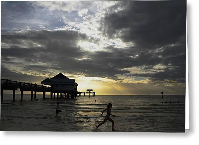 Pier 60 Sunset Greeting Card by Lori  Burrows