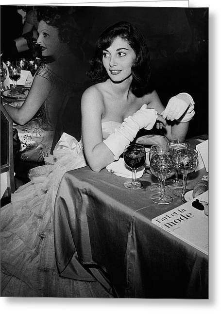 Pier Agnelli Wearing An Evening Gown At A Ball Greeting Card by Nick De Morgoli