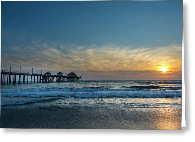 Pier And Sunset Greeting Card by Roberto Lopez