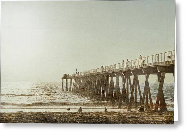 Pier Approaching Sunset Greeting Card