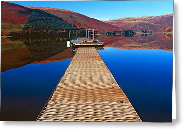 Pier At A Lake, St Marys Loch, Scottish Greeting Card by Panoramic Images