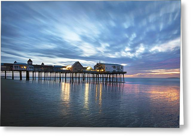 Pier At Dawn Greeting Card by Eric Gendron