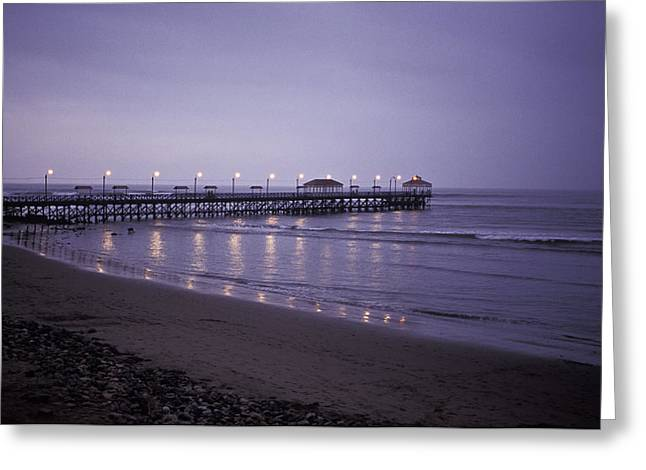 Greeting Card featuring the photograph Pier At Dusk by Lana Enderle