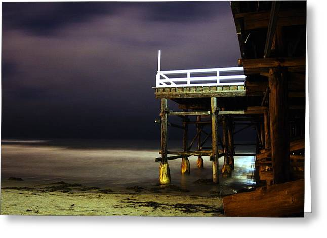 Pier At Night - 2 Greeting Card by Carrie Warlaumont