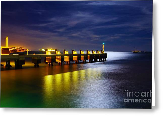 Pier At Night Greeting Card by Carlos Caetano