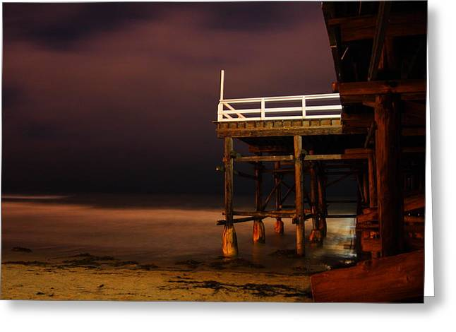 Pier At Night Greeting Card by Carrie Warlaumont