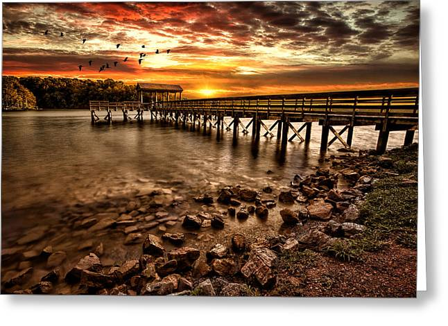 Greeting Card featuring the photograph Pier At Smith Mountain Lake by Joshua Minso