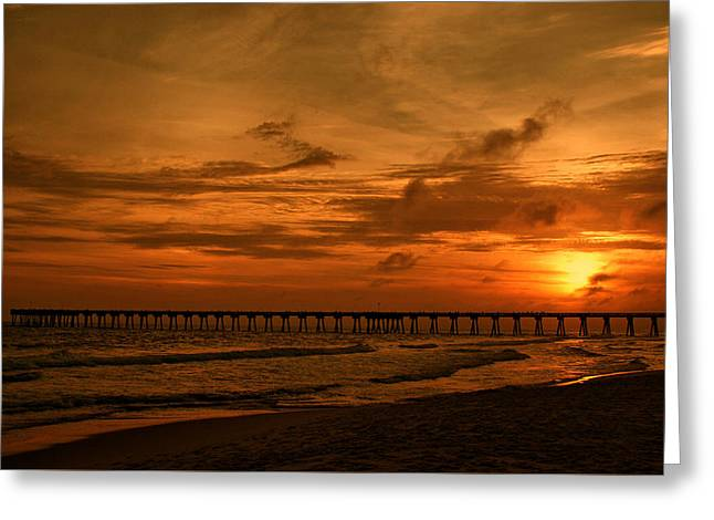 Pier At Sunset Greeting Card by Sandy Keeton