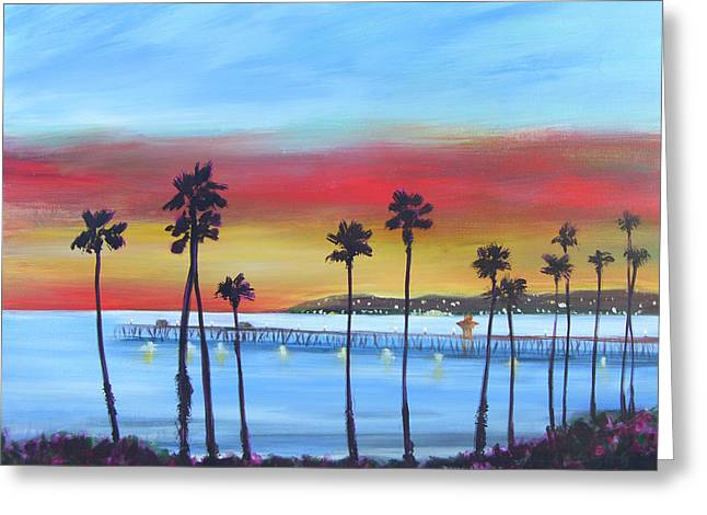 Pier At Twilight Greeting Card by Sally Huss