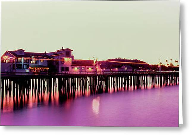 Pier Illuminated At Dusk, Stearns Greeting Card by Panoramic Images