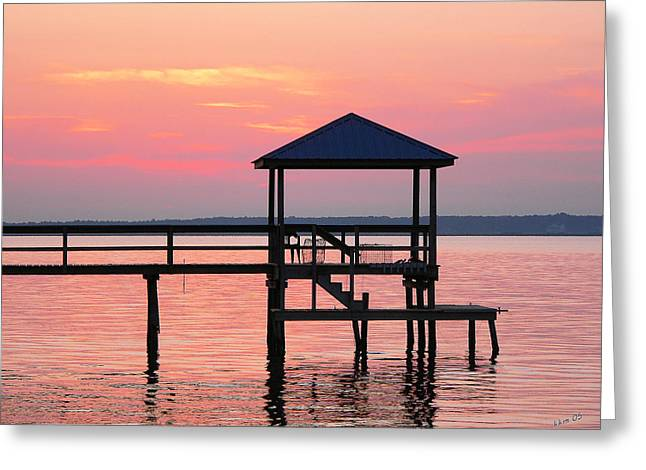 Pier In Pink Sunset Greeting Card