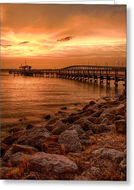 Pier In The Ocean Greeting Card by Celso Diniz