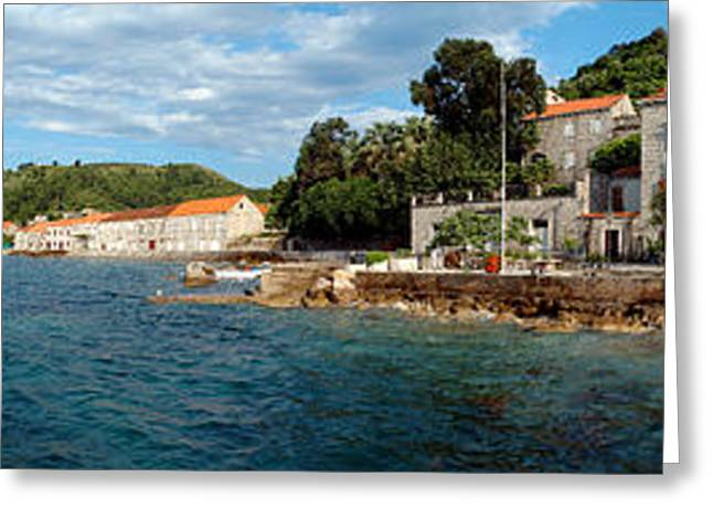 Pier In The Sea, Adriatic Sea, Lopud Greeting Card by Panoramic Images