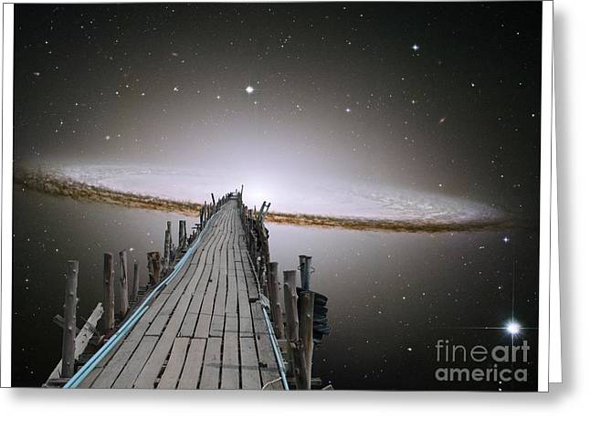 Pier Into Space Poster Text Greeting Card by Gregory Smith