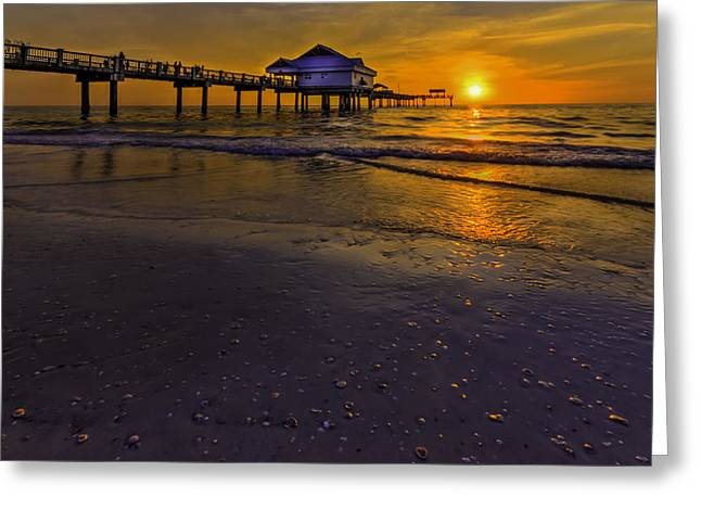 Pier Into The Sun Greeting Card by Marvin Spates