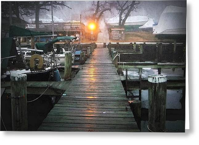 Pier Light - Watercolor Effect Greeting Card by Brian Wallace