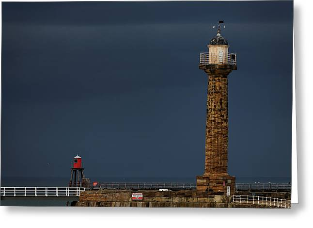 Pier Lighthouse And Beacon - Whitby Greeting Card by Rod Johnson