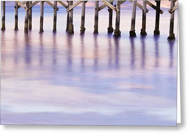 Pier On Beach, Gaviota State Beach Greeting Card by Panoramic Images