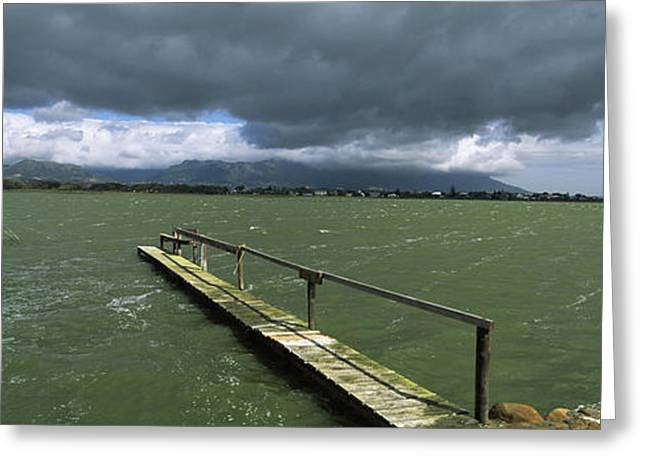 Pier On The Lake, Zeekoevlei Lake, Cape Greeting Card by Panoramic Images