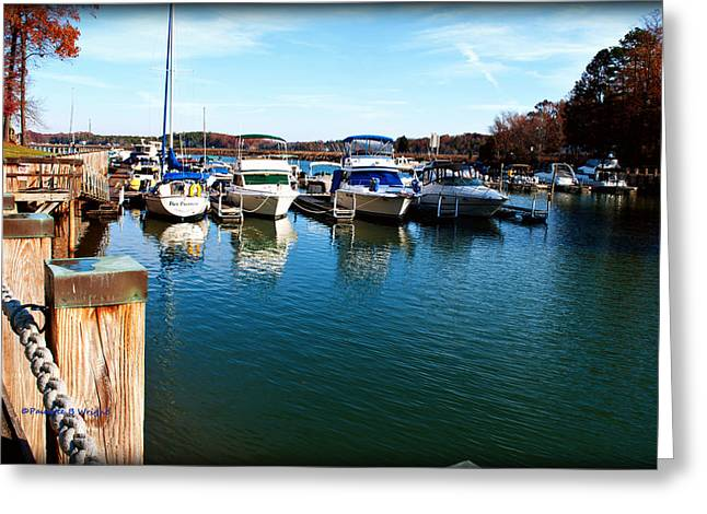 Pier Pressure - Lake Norman Greeting Card by Paulette B Wright