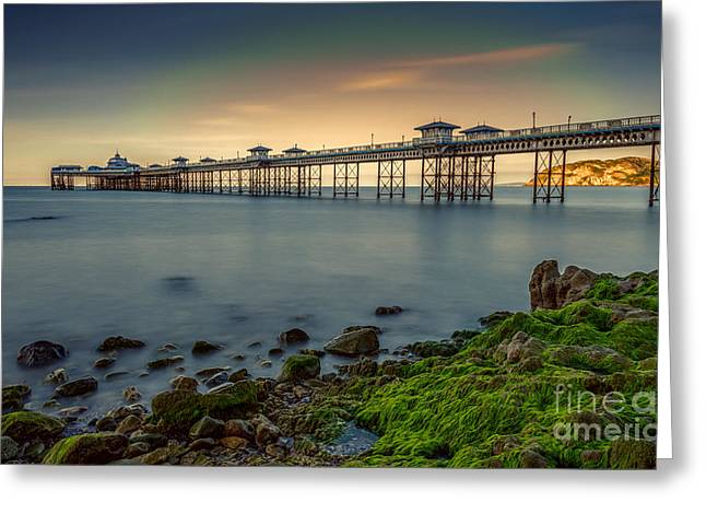 Pier Seascape Greeting Card by Adrian Evans