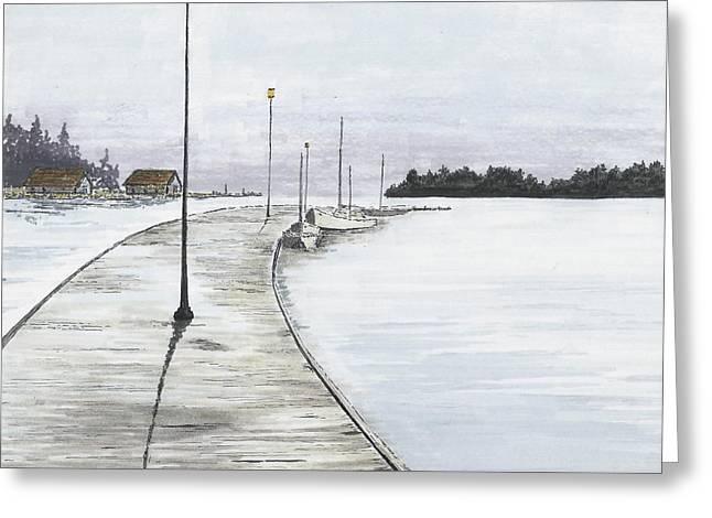 Pier Solitude Greeting Card by Dan Haley