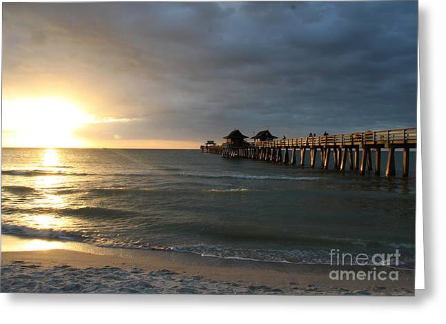 Pier Sunset Naples Greeting Card by Christiane Schulze Art And Photography
