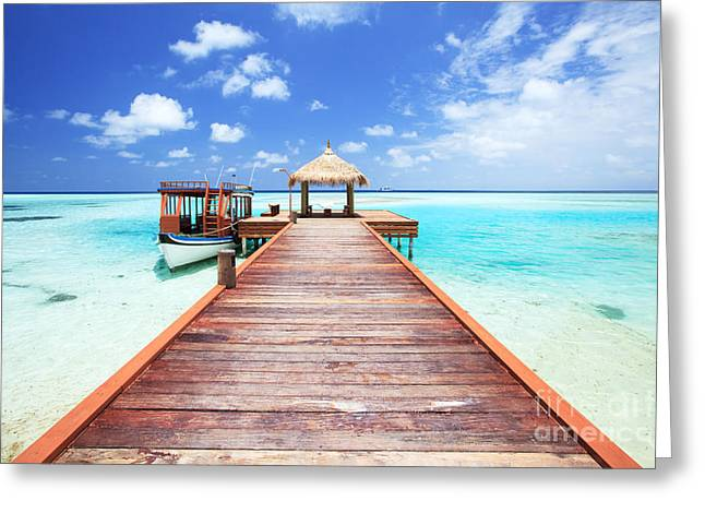 Pier To Tropical Sea In The Maldives - Indian Ocean Greeting Card by Matteo Colombo