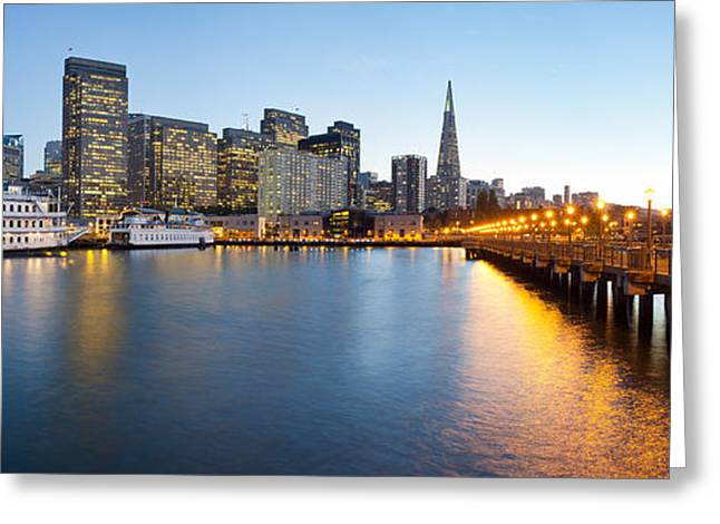 Pier With City At Sunset, Bay Bridge Greeting Card by Panoramic Images