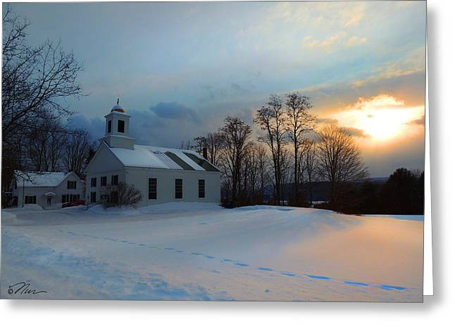 Piermont Church In Winter Light Greeting Card
