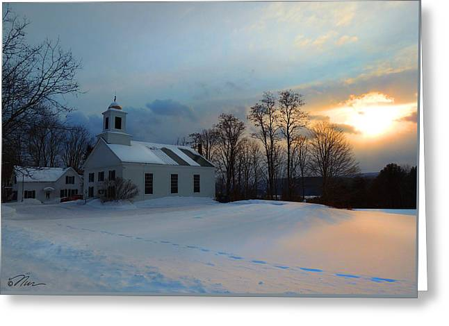 Piermont Church In Winter Light Greeting Card by Nancy Griswold
