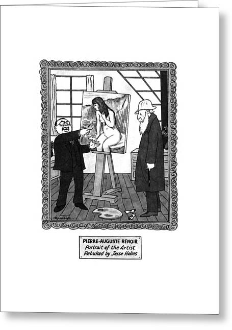 Pierre-auguste Renoir Portrait Greeting Card by J.B. Handelsman