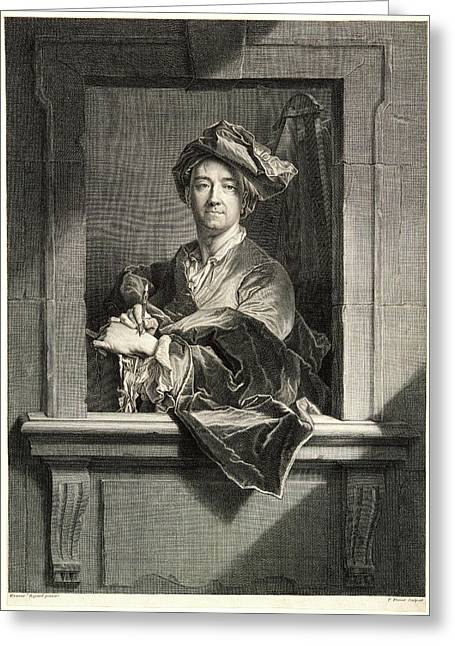 Pierre Drevet French, 1663-1738 After Hyacinthe Rigaud Greeting Card by Litz Collection