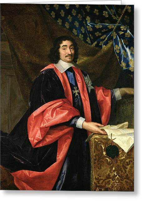 Pierre Seguier 1588-1672 Chancellor Of France, C.1668 Oil On Canvas Greeting Card