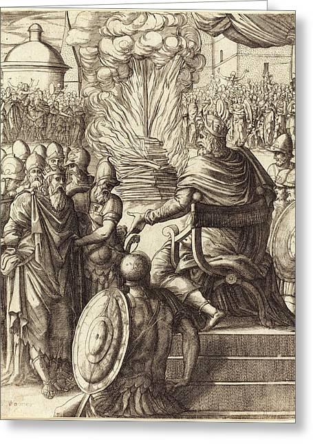Pierre Woeiriot, French 1532-1599, Heraclius Sentencing Greeting Card
