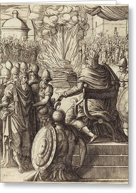 Pierre Woeiriot French, 1532 - 1599, Heraclius Sentencing Greeting Card