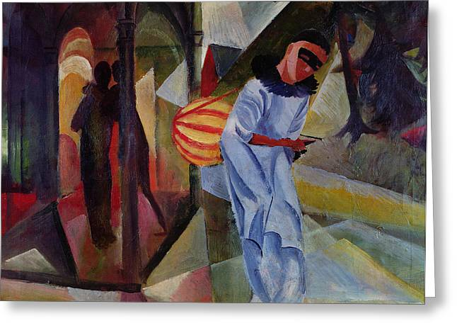 Pierrot, 1913 Oil On Canvas Greeting Card by August Macke