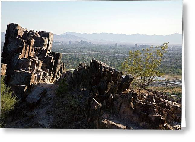 Piestewa Peak And The City Of Phoenix Greeting Card by Jim West
