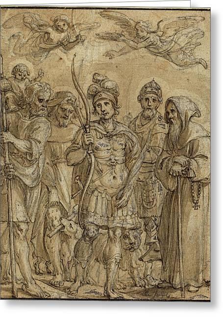 Pieter De Jode I, Flemish 1570-1634, Five Saints Greeting Card